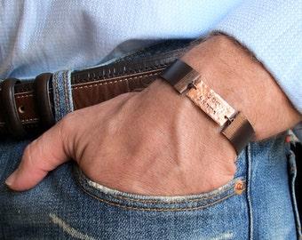 Bracelet Shema Israel - Hand Stamped Jewish Prayer Adjustable Leather Bracelet for Men / Shema Israel Bracelet / Jewish Bracelet / Hebrew