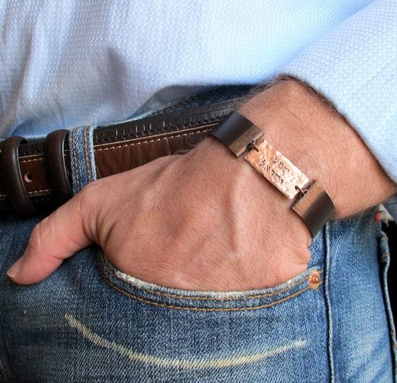 Bracelet Shema Israel Hand Stamped Jewish Prayer Adjustable
