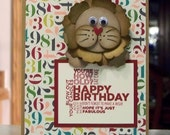 Birthday Card - Punch Art Lion - Stampin Up Delightful Dozen