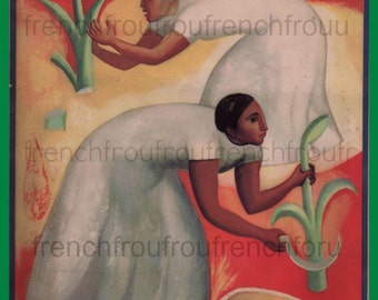 antique art deco mexican folk art maya corn harvest illustration digital download