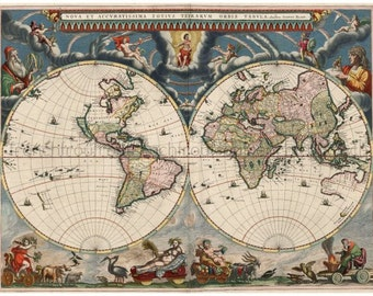 World map poster vintage etsy uk antique latin map illustrated and colored dated 1664 digital download gumiabroncs Images