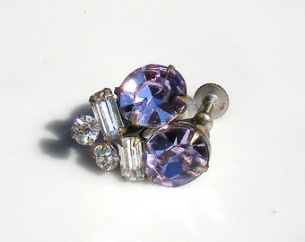 Vintage Rhodium Silver Earrings with Lilac Paste Stones