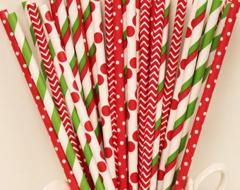 Paper Straws, 30 Vintage Christmas Party Red and Green Paper Straw Mix, Strawberry, Holiday Party, Buffet, Retro, Wedding, Mason Jar Straw