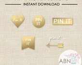 INSTANT DOWNLOAD - Social Media Icons - Pinterest Hover Buttons - Gold Set - By A Blissful Nest
