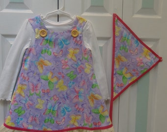 TODDLER'S DRESS SET: 4 to 5 yr old, dress, polo  and scarf set,  pastel butterfly print, fully lined with lavender cotton.