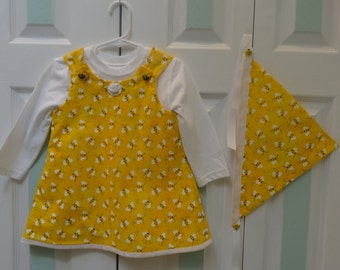 TODDLER DRESS SET : Designer  Set,  , dress, polo  and scarf set,12  to 18 month,yellow bumble bee print,fully lined in yellow