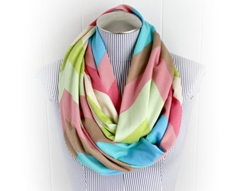 Spring Colored Chevron Infinity Scarf, Pink Green Blue and Brown Zig Zag Ponte de roma Loop Scarf