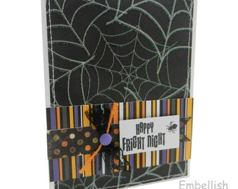 Halloween Spider Web Card - Happy Fright Night - Handmade