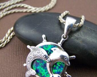 Estate Sterling Dichroic Pendant - Vintage Sterling Silver Pendant Necklace