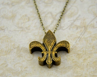 Two for One Sale....Bronze Fleur De Lis Necklace - Fleur De Lys Necklace Charm Pendant Modern Simple Necklace