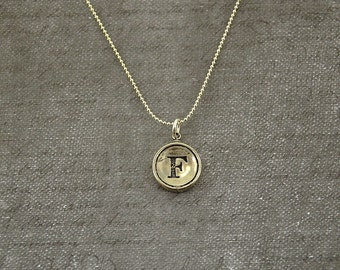 Letter F Necklace - Silver Initial Typewriter Key Charm Necklace - Gwen Delicious Jewelry Design GDJ