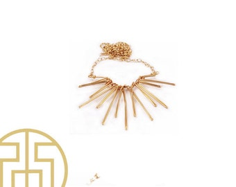 Gold Sun Ray Wire Necklace, S14-6