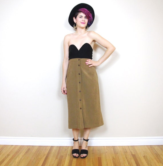 SALE 90s Taupe Button Up Faux Suede Skirt (S/M)