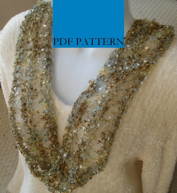 Knitting Pattern For Ladder Yarn Scarf : Pattern for Knit Moebius Scarf of Ladder Ribbon Yarn with