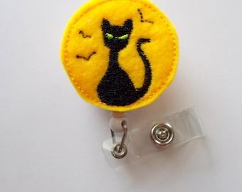 Black Cat in the Moon - Unique ID Badge Reel - Halloween Badge Holder - Cute Badge Reel - Nurse Badge Holder - Nursing Badge - Felt Badge