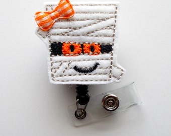 Ms. Mummy - Retractable Badge Reel - Name Badge Holder - Cute Badge Reel - Nurse Badge Holder - Nursing Badge Clip - Felt Badge