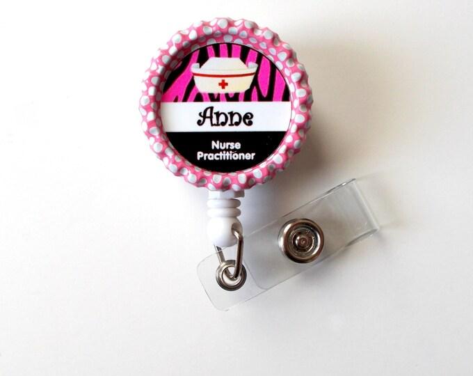 Personalized Zebra Nurse Hat - ID Badge Holder - Custom Badge Reel - Name Badge Holder - RN Badge - Nursing Badge - Nurse Badge Holder