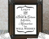 Leave the Bride & Groom Advice, Memories, Well Wishes, Advice Card Set. Reception Table, Wedding Card DIY Printable File. Instant Download.
