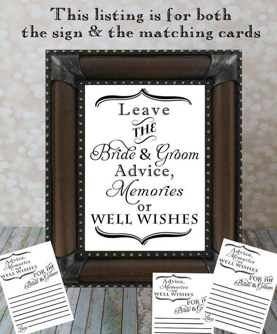 Items Similar To Leave The Bride & Groom Advice, Memories