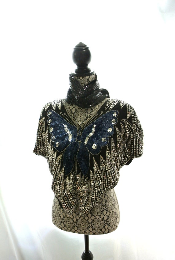 vintage butterfly sequin top boho boho clothes retro