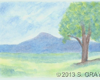 ACEO SFA Mountain Spring tree fields watercolor pencil painting original art nitelvr