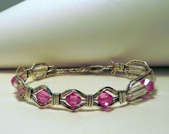 Pink Swavorski Crystals and Aurora Borealis Swavorski Crystal Bracelet and Earrings