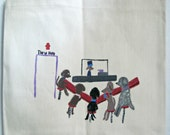 tote bag with hand painted dog design - dogs at the diner
