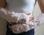 Cashmere Fingerless Gloves in Soft Pink, Creamy White and Gray