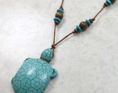 Turtle Nursing Necklace in Calming Turquoise Howlite Breastfeeding Baby Wearing