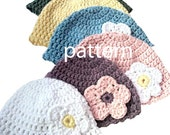 Beanie Hat CROCHETING PATTERN With Flower, Child Photography Prop, Sell What You Make, Digital Download