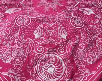 Nautilus Bandana- Ruby Pink and White