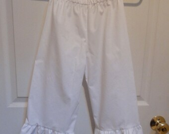 Infant, Toddler, and Girls Custom Made White Cotton Ruffled Pantaloons Bloomers Sizes 1-16