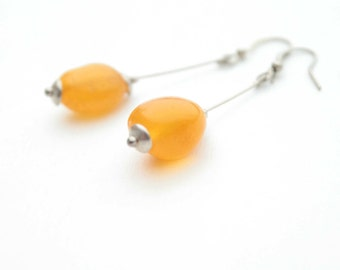 Sunshine Amber Earrings Yellow Earrings Long Dangle Amber Earrings Spring Fashion