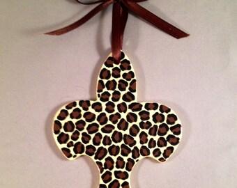 SALE - Hanging Fleur de Lis Ornament - Leopard Print