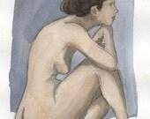 Worried - 7.5 x 10 Watercolor Painting