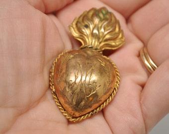 Tiny Ex-Voto Engraved AM for Ave Maria Sacred Heart Rare Reliquary Locket
