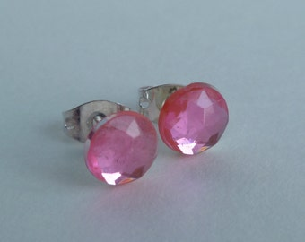 Post Stud Earrings Pink Classic Pastel Rhinestone For Her Prom Wedding