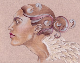 Wings of Thought - Original Colored Pencil Drawing.