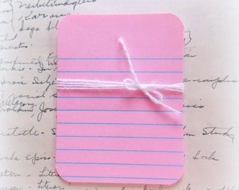 Pink Lined Journal Cards / Project Life / 10 Pieces / Daily Planner / Junk Journal