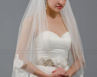 2 tier bridal wedding veil elbow alencon lace trim - available in ivory and pure white