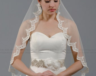 Mantilla bridal wedding veil 45x36 elbow alencon lace available in ivory and white