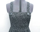 SALE Leopard print silver / grey / gray midi length dungaree dress M-L UK 12-14-16 o.o.a.k handmade original unique