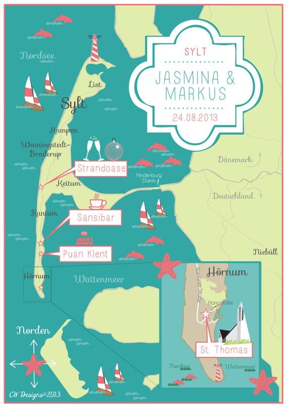 Custom wedding map sylt germany same design but choose for Designhotel sylt