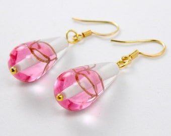 Pink and Gold Glass Drop Earrings