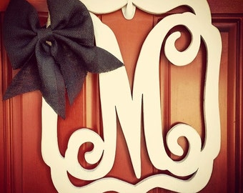 "Wood framed monogram letter, wooden monogram wreath, painted or unpainted Select a size from 10"" up to 24"", Hand Drawn, machine cut"
