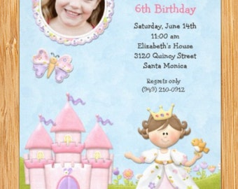 Princess Birthday Party Invitation with Castle