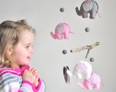 Elephant Mobile in Pink and Grey, Baby Crib Mobile, Ready to Ship