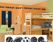 Vinyl Wall Lettering Decorative Decal Boys Accent Border Sports Balls 16 Feet