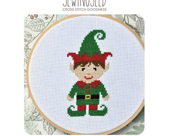Little Boy Elf Cross Stitch Pattern Instant Download