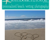 Initials in Hearts Personalized Beach Writing Photograph